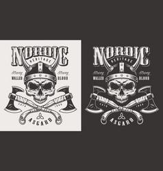 t-shirt print with viking head vector image