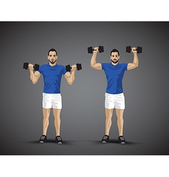 Training shoulder press trio vector