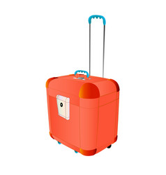 Travel plastic suitcase red large with wheels vector
