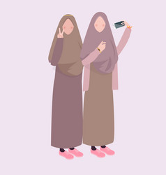 Two girl take selfie together friends wearing veil vector