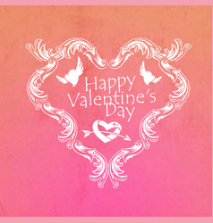 valentines day greeting card with hearts and lace vector image