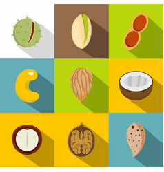 Various kinds of nuts icons set flat style vector