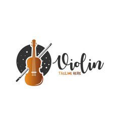 violin musical instrument logo vector image