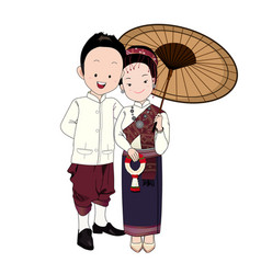 Wedding cartoon bride and groom in north-east thai vector