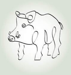 Wild boar pig in minimal line style vector image