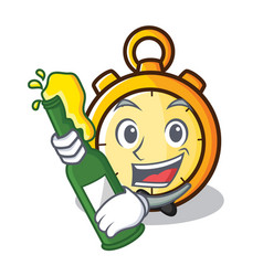 With beer chronometer character cartoon style vector
