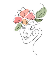 woman face with flower one line drawing vector image