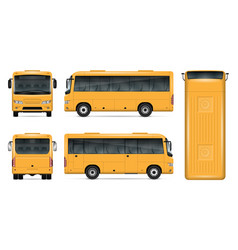 Yellow bus mockup vector