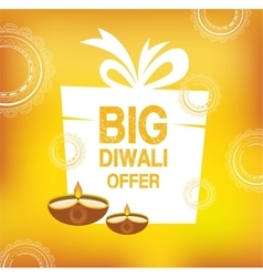 Yellow color card design for Diwali vector image