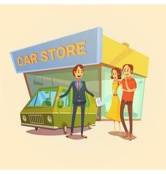 Car dealer and clients concept vector