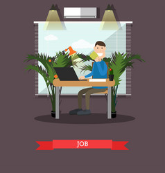 job with coffee in flat style vector image vector image
