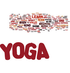 yoga learn text background word cloud concept vector image vector image