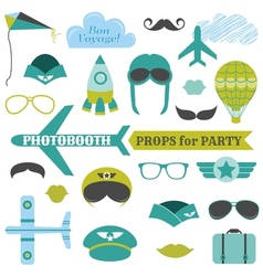 Airplane Party set - photobooth props vector image
