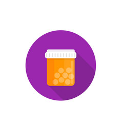Bottle of medicine pills icon in flat style vector