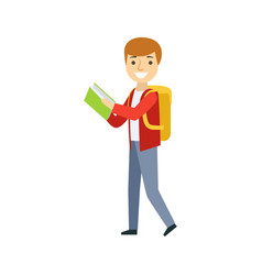 boy walking with backpack reading a book part of vector image vector image
