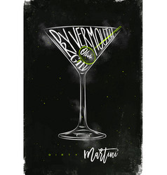 dirty martini cocktail chalk color vector image vector image
