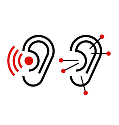 ear acupuncture and hearing aid icon vector image vector image