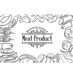 hand drawn meat product poster vector image vector image