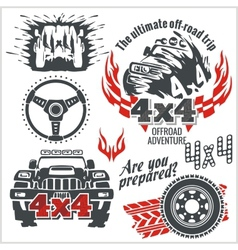 Off-road elements and emblem - set vector image vector image