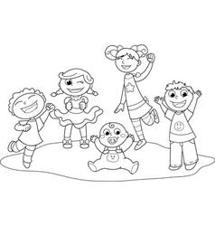 five happy children vector image
