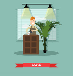 latte concept in flat style vector image vector image