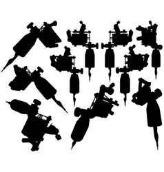 Lot of black silhouette graphic tattoo machines vector