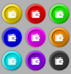 Purse icon sign symbol on nine round colourful vector image