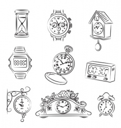watch and clocks vector image vector image