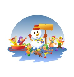 cute kids playing winter games vector image