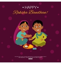 Little happy brother and sister celebrating Raksha vector image