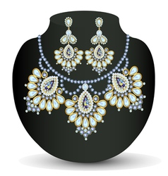 necklace and earrings with pearls vector image vector image
