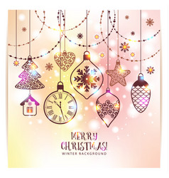 new years greeting card merry christmas bright vector image