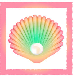 Seashell with pearl vector