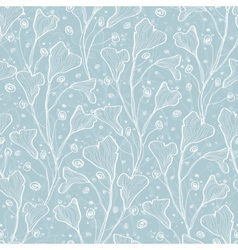 silver leaves texture seamless pattern vector image vector image