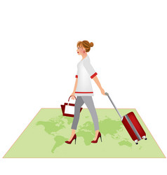 woman carrying a red suitcase vector image vector image