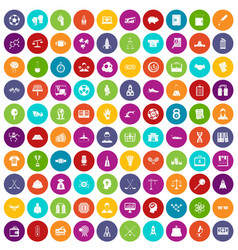 100 success icons set color vector