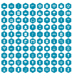 100 windmills icons sapphirine violet vector