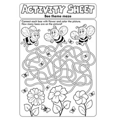 Activity sheet bee theme 1 vector