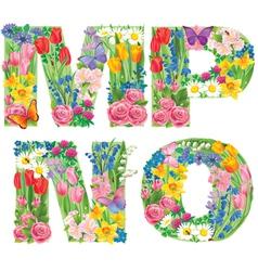 Alphabet flowers mnop vector