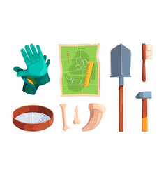Archeology tools digging items archiological vector