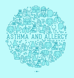 Asthma and allergy concept in circle vector