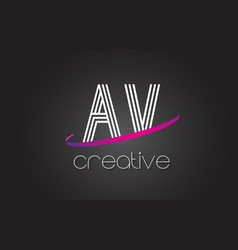 Av a v letter logo with lines design and purple vector
