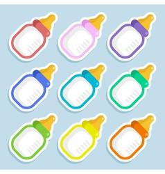 Baby Milk Bottle Stickers vector image