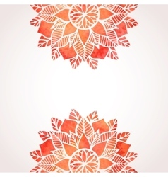 Background with watercolor red flower pattern vector