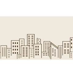 Big city many building silhouettes vector
