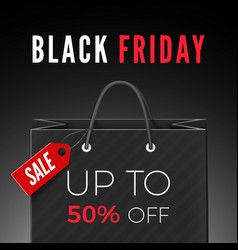 black friday discount offer black bag with red vector image