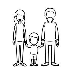 Black thick contour caricature faceless family vector