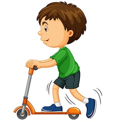 Boy riding on scooter vector image