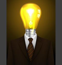 Businessman with a lamp head creative idea vector