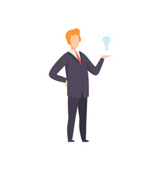 businessman with light bulb successful business vector image